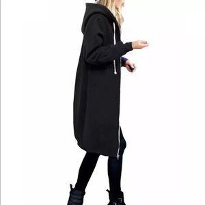 RESTOCKED! Long Hoodie Sweater Maxi Dress Black